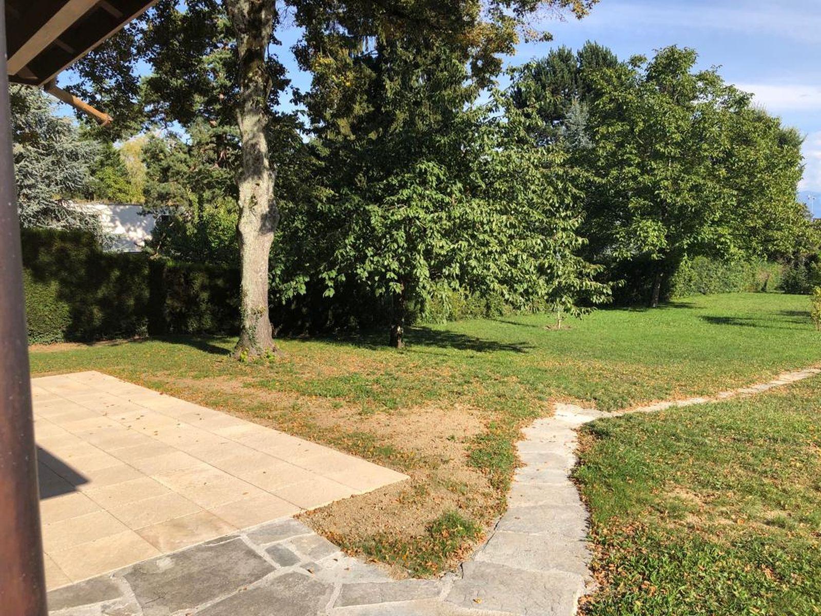 Terrasse avec chemin vers le bout du jardin